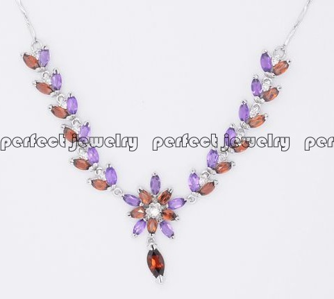 Gem necklace Free shipping Real and natural amethyst/garnet necklace 925 sterling silver 0.1ct*34pcs,0.3ct*1pc gems