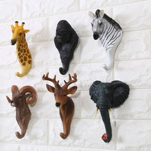 16 cm Fashion Resin Animal Head Coat and Hat Hook Antelope Deer Zebra Gorilla Giraffe Design Decoration Crafts DEC131