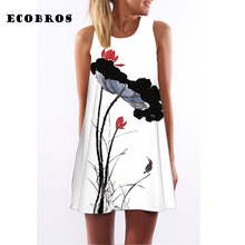 ECOBROS 2017 Summer New Woman Dress casual sleeveless Loose Lotus birds print mini dresses plus size woman clothing dress