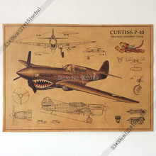 The Flying Tigers fighter P-40 World War II aircraft structure drawings Vintage paper Poster 21x15inch(53*38cm) kids boy gift(China)