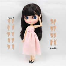 Free shipping factory blyth Doll bjd neo 180BL0312 long black straight hair with bangs/fringes JOINT body 1/6 Toy Gift(China)