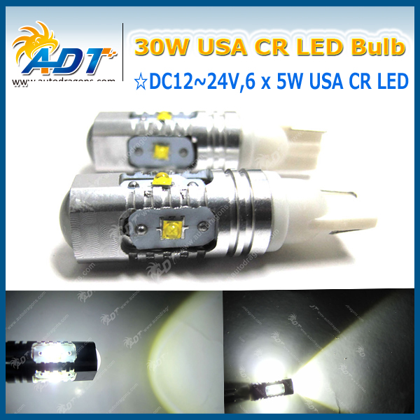 4pcs Super bright T10 194 168 W5W error free 800LM bulb 30W usa crees LED for Car light Side Marker License Plate Interior Bulbs<br><br>Aliexpress