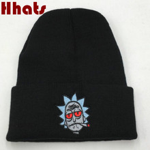 Which in shower white red gray black Rick and Morty Winter Hat Cap US Animation Rick Smoking Knitted Beanie Female Male Bonnet(China)