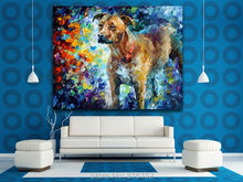 Lovely Dog Pallet Knife Painting Animal Picture Printed on Canvas Fashion Art Decor