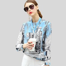 High Quality 100% Silk Blouse Women Lightweight Fabric Printed Bow-Neck Long Sleeves Formal Tops Elegant Style New Fashion 2017