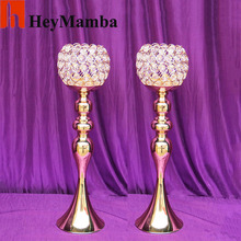 10pcs/lot Crystal Table Candle Holder Wedding Centerpiece Silver/Gold  Metal Candle Holders Stand For Wedding Party Decor H/44cm
