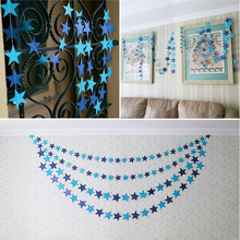 Wall Hanging Paper Star Garlands 2m Long Birthday String Chain Wedding Party Banner Handmade Children Room Door Home Decoration(China)