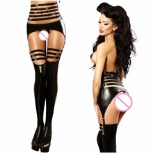 Buy Womens Pole Dance Outfit Clubwear Hot Lenceria Sexy Costumes Sheer Bodysuit Latex Catsuit Fantasias Sexy Erotic Black Langerie