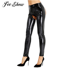 Buy Sexy Womens Wetlook Patent Leather Latex Pants Sexy Open Crotch Butt Pencil Leggings Pants Clubwear Hot Skinny Stretchy Trousers