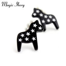 Magic Ikery Pentagonal star pattern Anti-pearl horse animal cartoon Stud women's jewelry summer stud necklace MLY4955