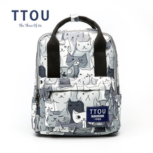 TTOU Design Cat Animal Printing Backpack Teenage Girls School Bag Women Backpack Travel Bag Large Capacity Can be Portable Bag(China)
