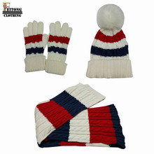 Women Scarf cap 3 Piece Knit Winter Set Hat Gloves Scarf Knitting Warm Cap Colorful Patchwork scarf and hat for women winter(China)