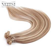 Neitsi Machine Made Remy Human Fusion Hair Straight Keratin U Nail Tip Hair P14/24# 1.0g/s 50g/pack Pre Bonded Hair Extensions(China)