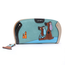 New Arrive Fashion Cute Puppy Wallet Cartoon Dog 6 Colors PU Leather Women Wallets Ladies Clutch Zipper Long Card Holder