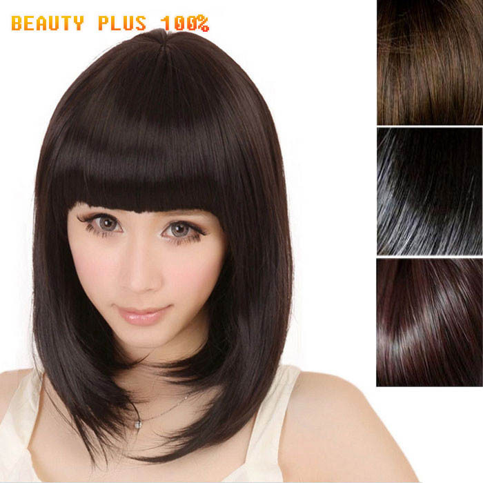 Delicate Newest Fashion Women Ladies Pro Salon Short Straight Full Bangsr Cosplay Wig Dark Brown  African american short wigs<br><br>Aliexpress