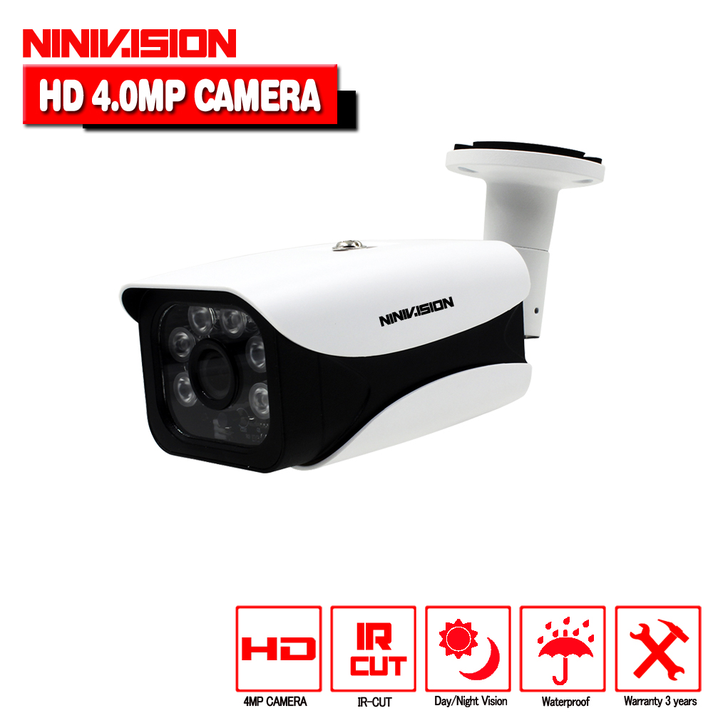 NINIVISION Super AHD Camera HD 4MP Surveillance Outdoor Indoor Waterproof 6* Array infrared Security Camera System With Bracket<br>