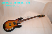 hot selling sunburst  fretless electric bass +guitar foam box+free shipping   1040