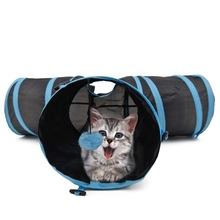 Cat Tunnel Foldable Special Design Y Shape 3 Holes Pet Play Toy For Kitten Puppy Rabbit High Quality With Ball 2 Colors Pet Toy(China)