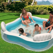 INTEX 56475 Square Shape Swim Center Inflatable Family Lounge Pool With Backrest /cupholder and Four Inflatabe Seats