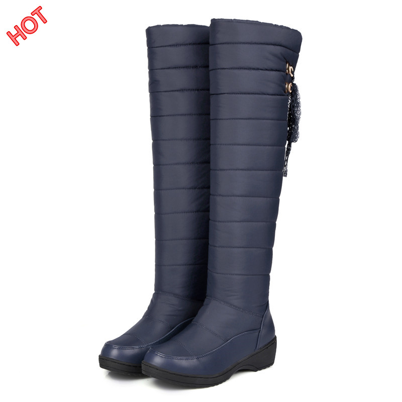 New Brand Womens Winter Boots 2017 Fashion Waterproof Wedge Thick Fur Snow Boots Sexy Thigh Knee High Boots Woman Winter Shoes <br><br>Aliexpress