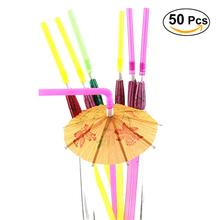 50pcs 3D Paper Umbrella Cocktail Drinking Straws Parasol Paper Straws BBQ Hawaiian Party Theme Wedding Color Assorted