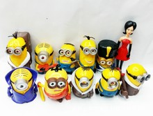 PROMOTION 11Pcs/Lot  Toys 3D Eye Anime Cartoon Minions PVC Action Figure Best Kid Brinquedos Baby Doll