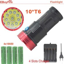 King LED Flashlight 10T6 High Brightness 20000Lm 10x T6 Waterproof FlashLight Recharge Torch Light with 4x 18650 Battery