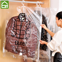 Transparent Vacuum Space Saver Bags Clothes Compressed Storage Sacks Hanging Clothing Seal Bag for Home or Travel