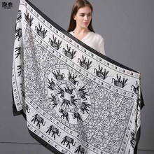 YI LIAN Brand New Women Seaside long Section Sunscreen Scarves Ink Elephant New Spring And Summer Ultra-thin Scarves YL236(China)