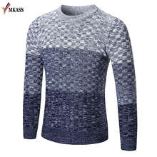 2017 Autumn Winter Sweater Men Cotton Men Long Sleeve Sweater Australian Knitted Solid Grey Plus Size XXl Pullover Hombre(China)