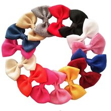 Large 4 inch Burlap Hair Bows Hair Clips,Fabric Bow Hair Tie,Girl's Kid's Bow Clips Hair Accessory 16 Color 20 pcs/lot(China)