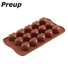 PREUP 3d silicon love heart molds Ice-Cube Chocolate Fondant Cake Jelly Tray Pan Mold Mould Kitchen Baking Cake Tools 15 cavity(China)