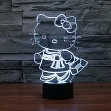 Cute Hello Kitty Figure Toys 3D Night Light Cartoon Movie 7Color Changing Toys Gift for kids New Year Birthday Gifts drop ship(China)