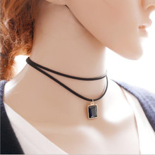 Hot New Korean Version Of Fashion Creative Jewelry Simple Choker Minimalist Retro Multilayer Rectangle Crystal Necklace   M14