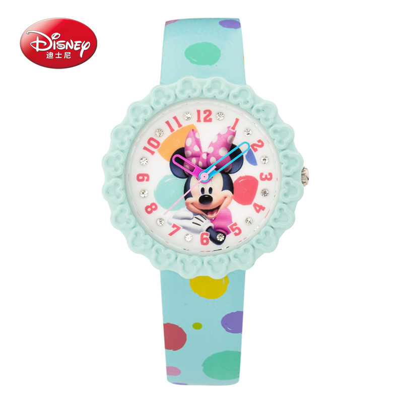 100% genuine Disney  Minnie mouse children lovely crystal rhinestone cartoon watch girls fashion casual Kids leather watches<br>