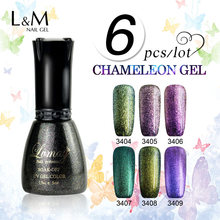6 Pcs Free Shipment Lvmay Brand Chameleon Gel Nail Good Supplies Products Color Hight Quality Soak Off Fingernail Cheap Polish