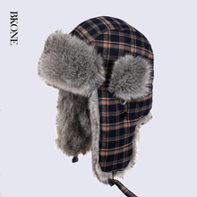 Grid Pattern Plaid Bomber Hat for Men Women Winter Faux Rabbit Fur Earflap Trapper Hat Russia Thermal Snow Cap(China)