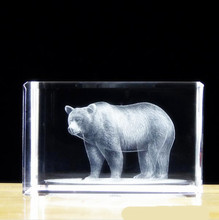 50*50*80mm Engraved Crystal Paperweight asia quartz Cube With 3D Bear For Home Decoration Family souvenir photo surprise(China)