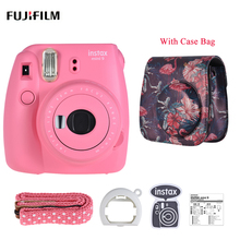 Fujifilm Instax Mini 9 Instant Camera Film Cam with Selfie Mirror, Blue/ Pink/ White/ Green+Camera Case Bag with Strap(China)