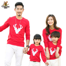 2017 Christmas Family Look Deer Mommy and Me Clothes Matching Family Clothing Sets Mother Daughter Father Baby T-shirt(China)