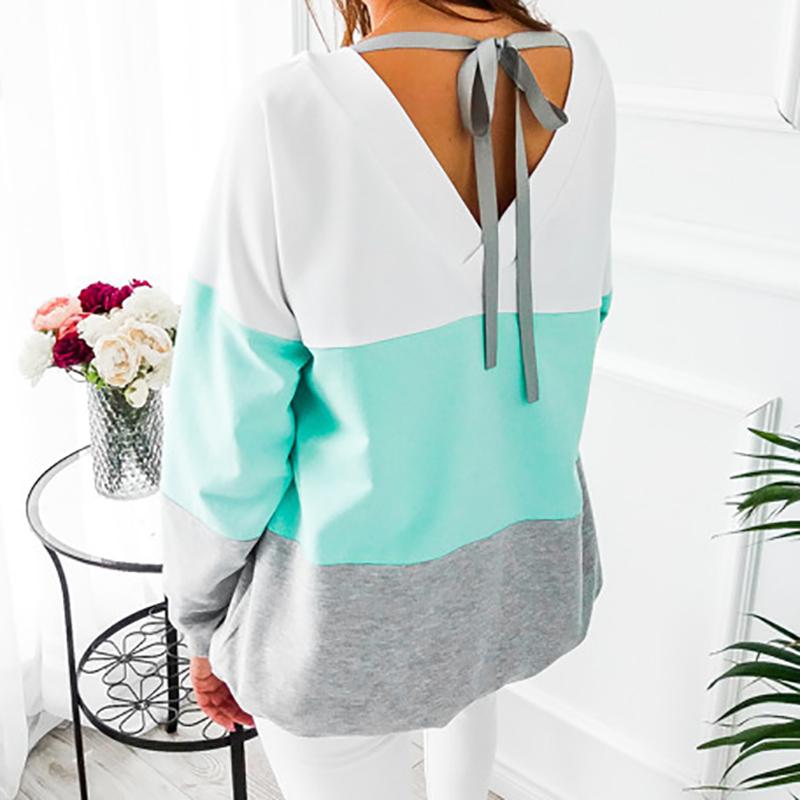 Sweatshirt, Women's Sweatshirt Patchwork Pullover 22