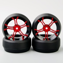 4 PCS/Set 12mm Hex RC Flat Drift Tires Lacquered Wheel Rim HSP RC 1:10 On Road Car Remote Control Toy Model Car Accessories F