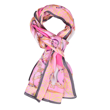 SALUTTO 100% Natural Silk Scarves Women Fashion Flower Printed Pure Silk Scarf Shawl Large Size 170 x 55cm Sunscreen Shawls