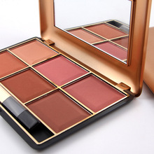 Professional Makeup Blusher Long Lasting 6 Color Minerals Powder Retro Face Base Blush Bronzers Contouring Make Up Palette(China)