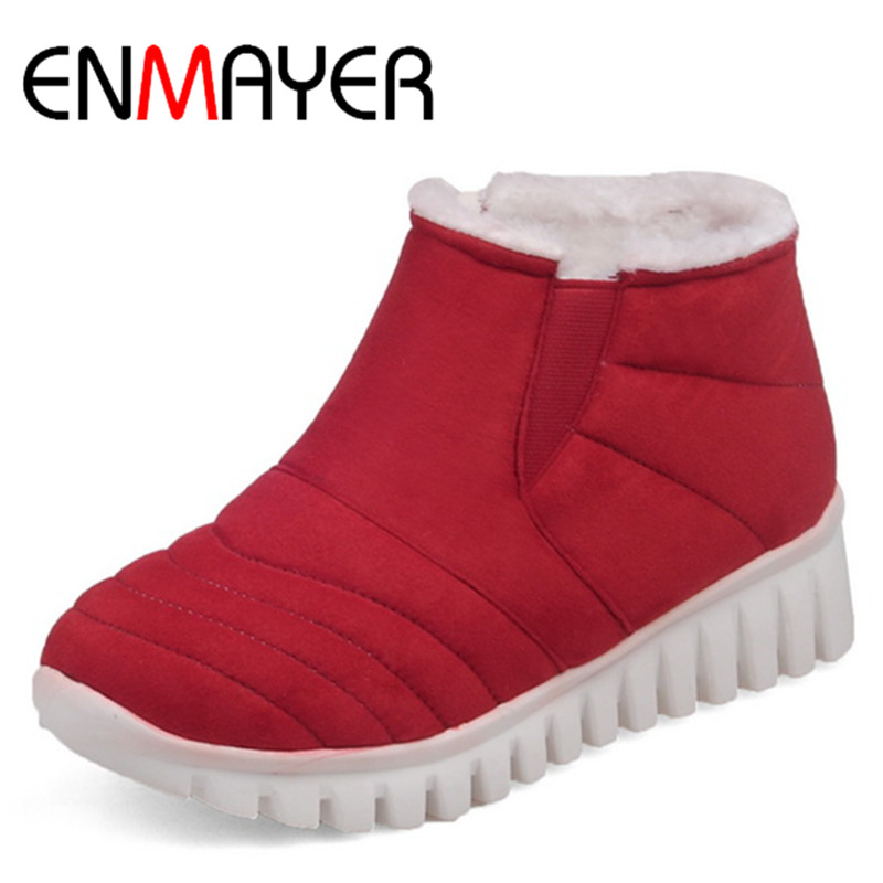 ENMAYER Slip-on Winter Warm Snow Boots Shoes Woman Low Heels Wedges Ankle Boots for Women Sexy Red Black Platform Boots Shoes<br>