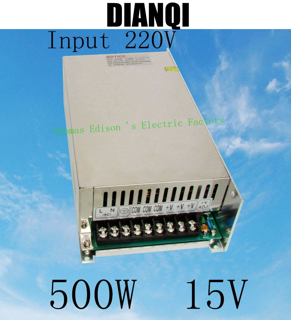 power suply 15v 500w input 220v or 110V  ac to dc power supply ac dc converter  high quality led driver S-500-15<br>