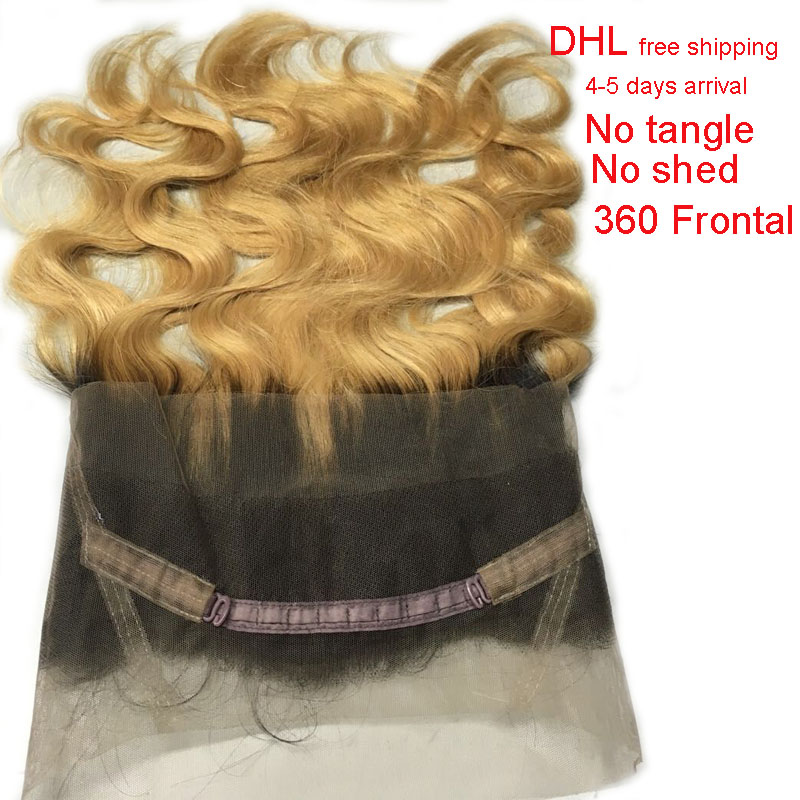 Malaysian ombre 360 Full Lace Frontal Closure Dark Roots Honey Blonde Body Wave With Baby Hair 100% Remy Human Hair<br><br>Aliexpress