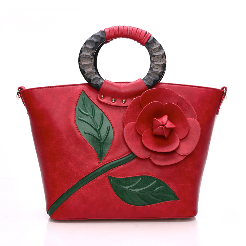 Classic vintage rose three-dimensional flower big tote bag 2017 woodbines portable womens handbag shoulder cross-body bag<br><br>Aliexpress
