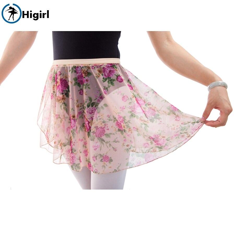 Girls Printing flowers Ballet Wrap Skirt Women Ballet Dance Skirt Adult Spandex Waist Ballet DressCF7508