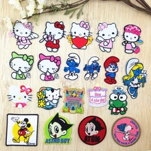 6pc/lot Children's cartoon hello kitty animal pattern 3d embroidery patch iron on patch embroidery iron on patch for shirt bag